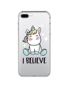 Coque Licorne I Believe Transparente pour iPhone 7 Plus - Maryline Cazenave