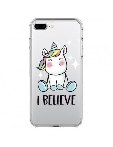 Coque Licorne I Believe Transparente pour iPhone 7 Plus et 8 Plus - Maryline Cazenave