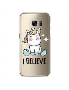 Coque Licorne I Believe Transparente pour Samsung Galaxy S7 Edge - Maryline Cazenave