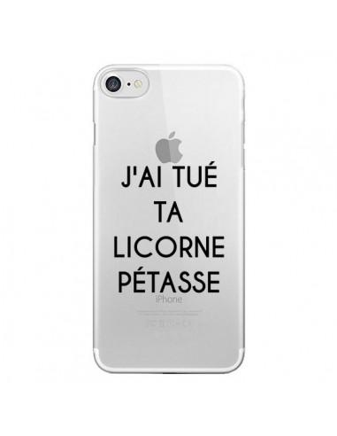 Coque iPhone 7 et 8 Tué Licorne Pétasse Transparente - Maryline Cazenave