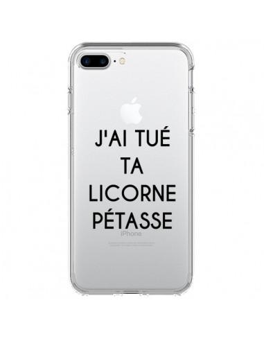 Coque iPhone 7 Plus et 8 Plus Tué Licorne Pétasse Transparente - Maryline Cazenave