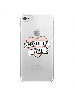 Coque Waste Of Time Transparente pour iPhone 7 - Maryline Cazenave