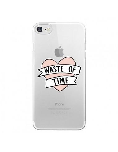 Coque Waste Of Time Transparente pour iPhone 7 et 8 - Maryline Cazenave