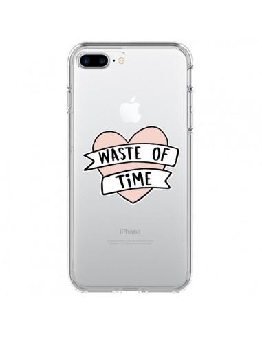 Coque iPhone 7 Plus et 8 Plus Waste Of Time Transparente - Maryline Cazenave