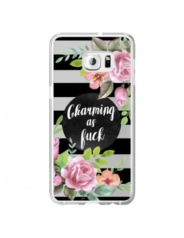 Coque Charming as Fuck Fleurs Transparente pour Samsung Galaxy S6 Edge Plus - Maryline Cazenave