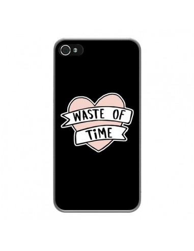 Coque iPhone 4 et 4S Waste of Time Coeur - Maryline Cazenave