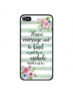Coque iPhone 4 et 4S Courage, Kind, Asshole - Maryline Cazenave