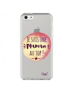 Coque iPhone 5C Je suis une Maman au Top Orange Transparente - Chapo