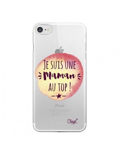 Coque iPhone 7 et 8 Je suis une Maman au Top Orange Transparente - Chapo