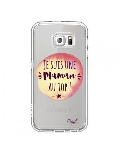Coque Je suis une Maman au Top Orange Transparente pour Samsung Galaxy S6 - Chapo