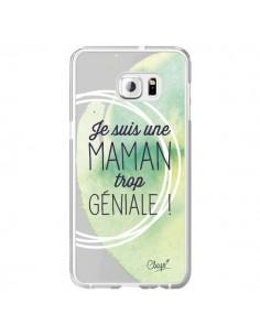 Coque Je suis une Maman trop Géniale Vert Transparente pour Samsung Galaxy S6 Edge Plus - Chapo