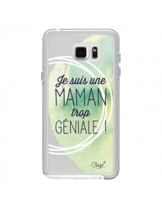 Coque Je suis une Maman trop Géniale Vert Transparente pour Samsung Galaxy Note 5 - Chapo