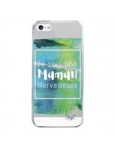 Coque Je suis une Maman Merveilleuse Bleu Vert Transparente pour iPhone 5/5S et SE - Chapo