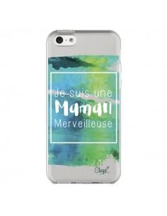 Coque iPhone 5C Je suis une Maman Merveilleuse Bleu Vert Transparente - Chapo