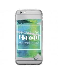 Coque iPhone 6 Plus et 6S Plus Je suis une Maman Merveilleuse Bleu Vert Transparente - Chapo