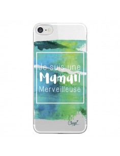 Coque Je suis une Maman Merveilleuse Bleu Vert Transparente pour iPhone 7 - Chapo