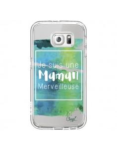 Coque Je suis une Maman Merveilleuse Bleu Vert Transparente pour Samsung Galaxy S6 - Chapo