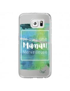 Coque Je suis une Maman Merveilleuse Bleu Vert Transparente pour Samsung Galaxy S6 Edge - Chapo