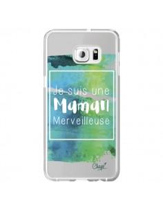 Coque Je suis une Maman Merveilleuse Bleu Vert Transparente pour Samsung Galaxy S6 Edge Plus - Chapo