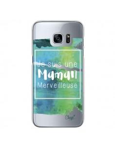 Coque Je suis une Maman Merveilleuse Bleu Vert Transparente pour Samsung Galaxy S7 - Chapo