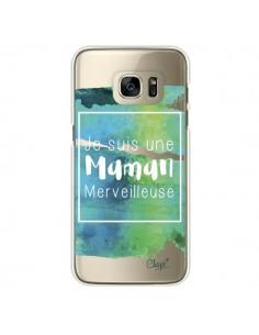 Coque Je suis une Maman Merveilleuse Bleu Vert Transparente pour Samsung Galaxy S7 Edge - Chapo