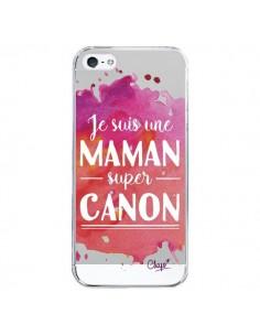 Coque Je suis une Maman super Canon Rose Transparente pour iPhone 5/5S et SE - Chapo