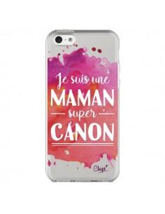 Coque iPhone 5C Je suis une Maman super Canon Rose Transparente - Chapo