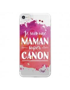 Coque Je suis une Maman super Canon Rose Transparente pour iPhone 7 et 8 - Chapo