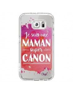 Coque Je suis une Maman super Canon Rose Transparente pour Samsung Galaxy S6 - Chapo