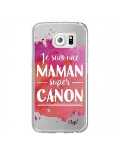Coque Je suis une Maman super Canon Rose Transparente pour Samsung Galaxy S6 Edge - Chapo