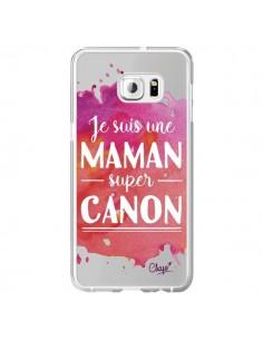 Coque Je suis une Maman super Canon Rose Transparente pour Samsung Galaxy S6 Edge Plus - Chapo