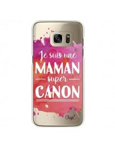 Coque Je suis une Maman super Canon Rose Transparente pour Samsung Galaxy S7 Edge - Chapo