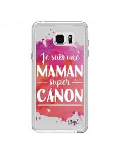 Coque Je suis une Maman super Canon Rose Transparente pour Samsung Galaxy Note 5 - Chapo