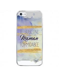 Coque iPhone 5/5S et SE Je suis une Maman Formidable Violet Transparente - Chapo