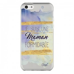Coque iPhone 5C Je suis une Maman Formidable Violet Transparente - Chapo