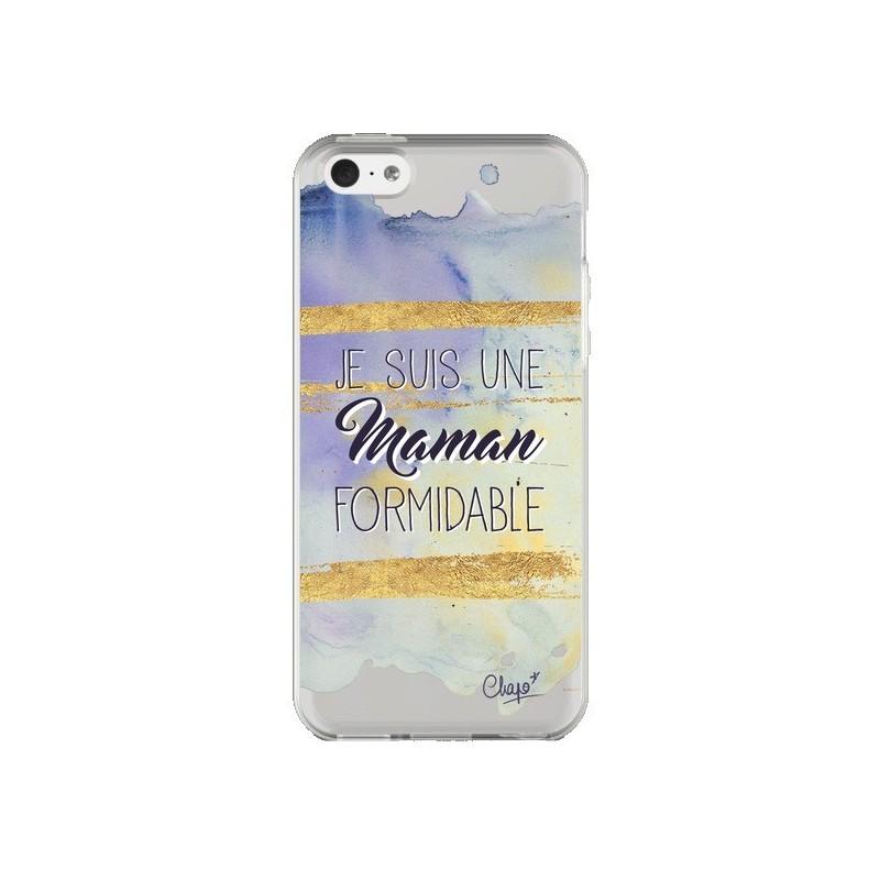 Coque iPhone 5C Je suis une Maman Formidable Violet Transparente - Chapo