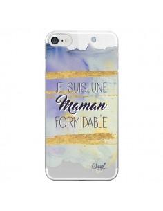 Coque iPhone 7 et 8 Je suis une Maman Formidable Violet Transparente - Chapo
