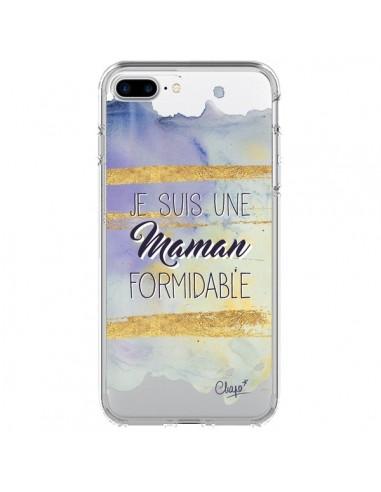Coque iPhone 7 Plus et 8 Plus Je suis une Maman Formidable Violet Transparente - Chapo