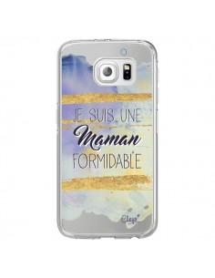 Coque Je suis une Maman Formidable Violet Transparente pour Samsung Galaxy S6 Edge - Chapo