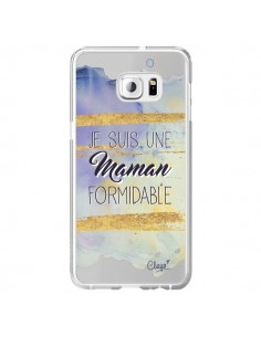 Coque Je suis une Maman Formidable Violet Transparente pour Samsung Galaxy S6 Edge Plus - Chapo