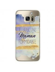 Coque Je suis une Maman Formidable Violet Transparente pour Samsung Galaxy S7 Edge - Chapo
