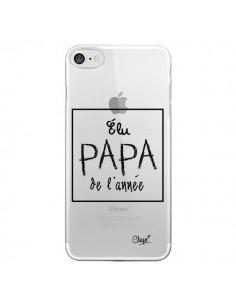 Coque iPhone 7 et 8 Elu Papa de l'Année Transparente - Chapo