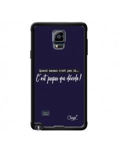 Coque C'est Papa qui Décide Bleu Marine pour Samsung Galaxy Note 4 - Chapo