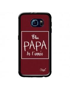 Coque Elu Papa de l'Année Rouge Bordeaux pour Samsung Galaxy S6 - Chapo