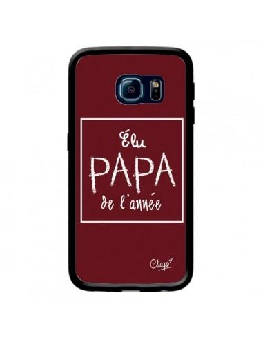 Coque Elu Papa de l'Année Rouge Bordeaux pour Samsung Galaxy S6 Edge - Chapo