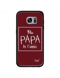Coque Elu Papa de l'Année Rouge Bordeaux pour Samsung Galaxy S7 - Chapo