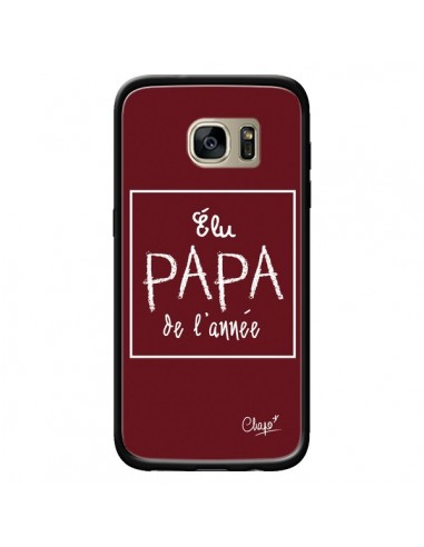 Coque Elu Papa de l'Année Rouge Bordeaux pour Samsung Galaxy S7 Edge - Chapo