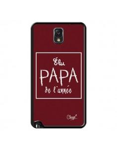 Coque Elu Papa de l'Année Rouge Bordeaux pour Samsung Galaxy Note III - Chapo