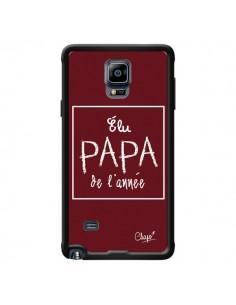Coque Elu Papa de l'Année Rouge Bordeaux pour Samsung Galaxy Note 4 - Chapo
