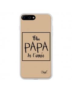 Coque iPhone 7 Plus et 8 Plus Elu Papa de l'Année Beige - Chapo
